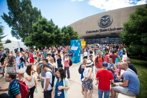 Hundreds of Cru Staff outside of Colorado State's Moby Gym after one of the main sessions of Cru15.