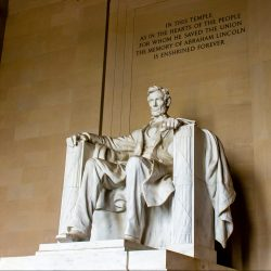 The Lincoln Memorial, a tribute to Abraham Lincoln, the 16th President of the United States who helped abolish slavery and preserve the Union, is one of the most popular sites in Washington, D.C.