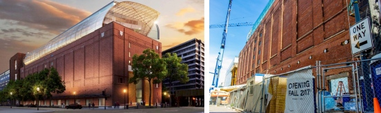 Left: An artist's rendering of the Museum of the Bible. Right: under construction, the Museum of the Bible will open in Fall 2017.